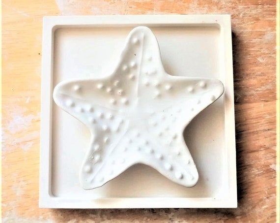 Starfish ring dish, nautical trinket tray, trinket dish, his and hers, wedding ring holder, beach wedding, beach house, sea shells