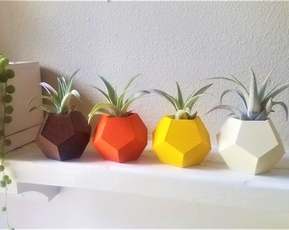 Desert sunset horizon planters, planter gift set, burnt orange, air plants, earth tones, 70s theme wedding favors