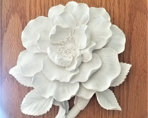 Wall hanging flower sculpture, large wall flowers, floral decor, wall decor, Magnolia, white flowers, handmade flowers