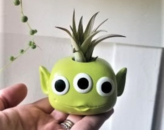 Toy Story Alien, air plant holder, Toy story gift, Alien gift, little green men, custom Funko, alien planter