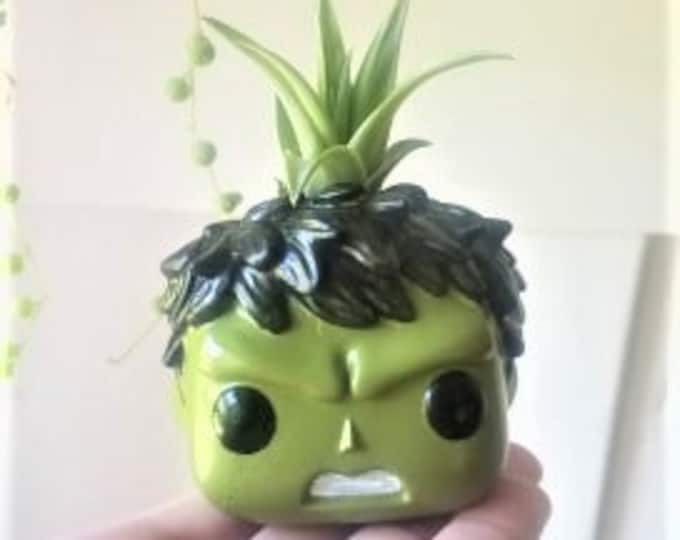 Hulk gift, incredible Hulk,  mini planter, gift for him, gift for dad, Avengers, Marvel inspired, planter with air plant, custom funko