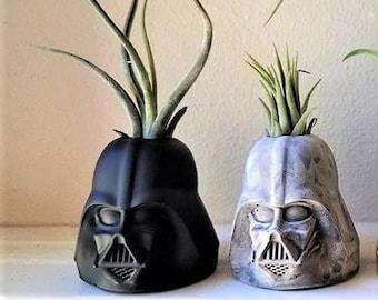 Darth Vader air plant holder, geek chic, gift for nerd, dark side, star wars planter