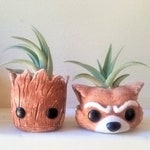 Groot planter set, air plant holders, baby Groot, Rocket the raccoon, air plant gift, gift for him, gift for her, desk plant