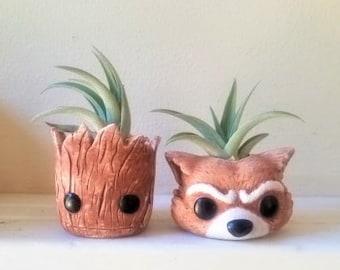 Groot planter gift set, I am Groot, stocking stuffer, air plant holders, baby Groot, Rocket, desk planter, character planter