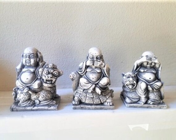 See no evil Buddha statues, set of hear no evil Buddhas, speak no evil, Buddha gift set, handmade Buddha statue