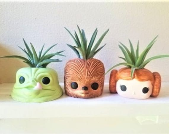 Star Wars planters, air plant holder, Chewbacca gift, Princess Leia, air plant holders, Jabba the Hut, geeky gift