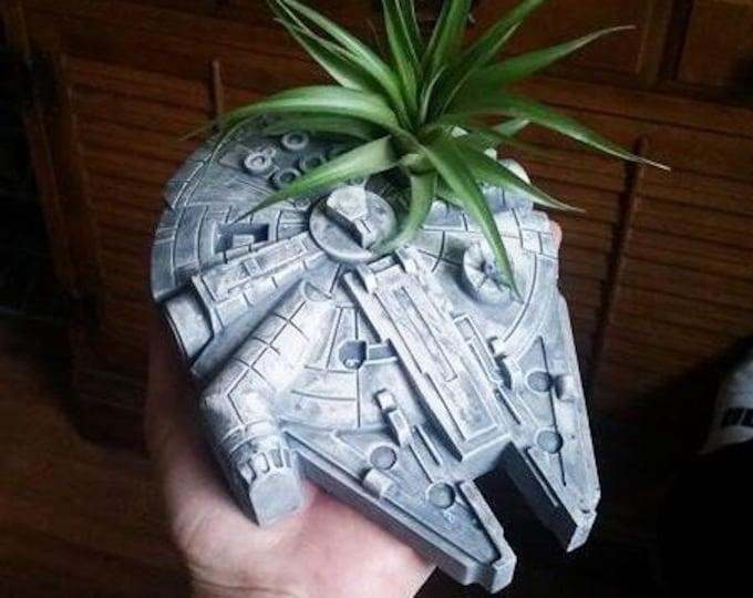 Millennium Falcon planter, air plant holder, Smugglers run, Star Wars wedding centerpiece, Galaxy's edge, star wars wedding
