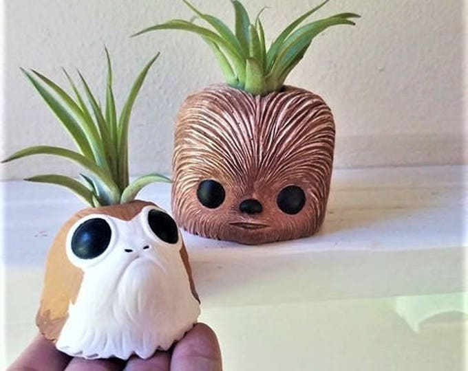 Chewbacca and porg planter gift set, air plant holder with plant, star wars air plant holder, geeky gift, air plant gift set