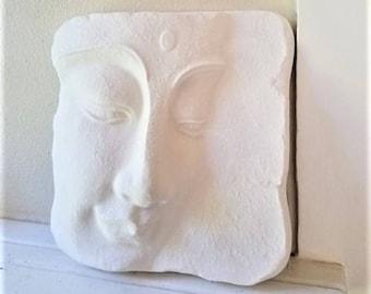 Buddha wall hanging sculpture, Buddha tile, Zen, peaceful Buddha face, matte white home accent