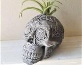 Day of the Dead skull, Sugar skull planter, air plant holder, Dia De Los Muertos, skull book end