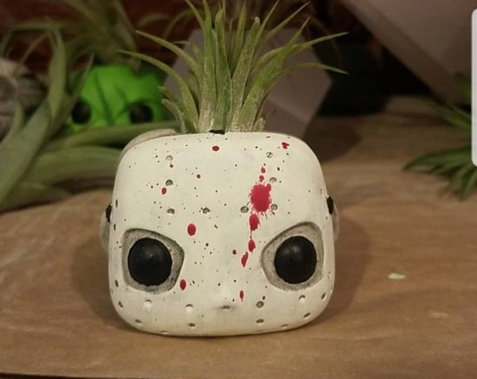 Friday the 13th air plant holder, Jason Vorhees, camp crystal lake, camp blood, custom Funko inspired gift, horror movie gift