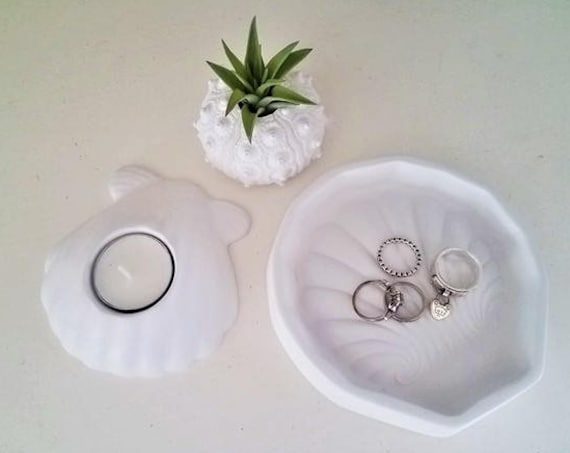 Seashell decor gift set, seashell ring dish, clam shell, urchin air plant holder, nautical home accent, beach house decor