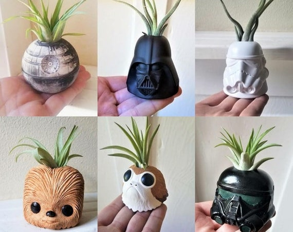 Star Wars inspired plant holder collection, star wars wedding gift set, Porg, Chewbacca, Darth Vader, Storm Trooper, Death Star