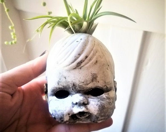 Creepy baby doll head planter, air plant holder, spooky doll candle holder, creepy gift