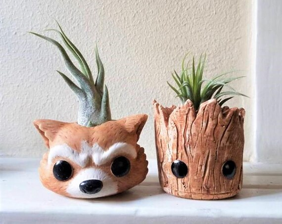 Groot planter gift set, baby Groot, Rocket the raccoon, air plant gift, stocking stuffer