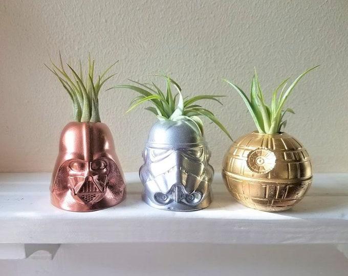 Star Wars air plant holders, metallic accent, Storm trooper, Darth Vader,death star desk planter, geek chic, nerdy gift