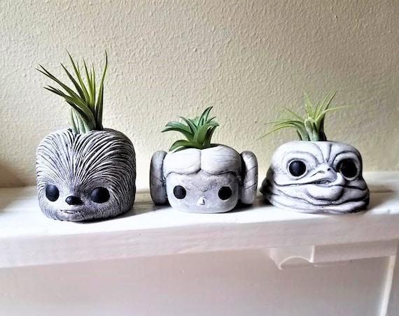 Star Wars  air plant holders , Star Wars gift, Chewbacca, Jabba, geeky gift, noir and blanc, black and white, stocking stuffer