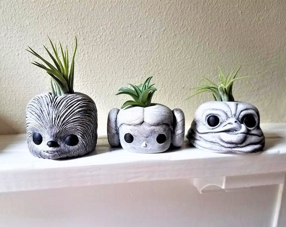 Star Wars planter gift set , Chewbacca, Princess Leia, faux stone air plant holders, Jabba, geeky gift, noir and blanc, black and white