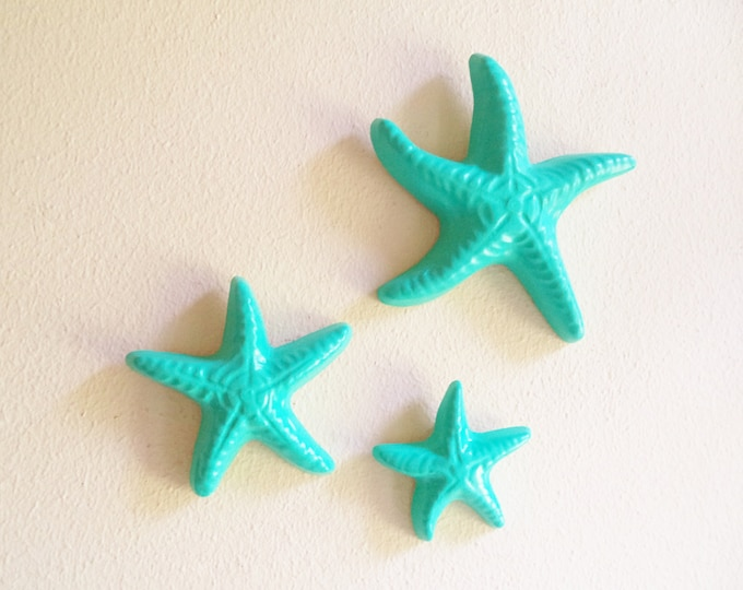 Starfish wall decor, nautical decor, starfish sculptures, sea glass green, sea foam