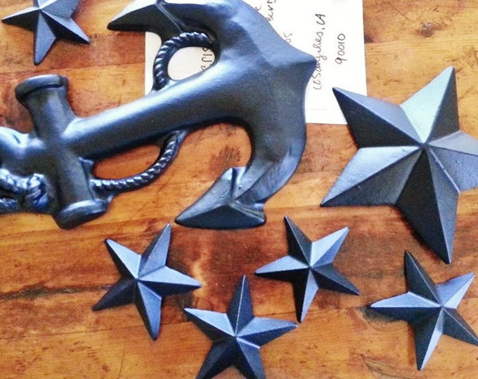 Nautical wall decor, large anchor wall hanging, star wall decor, wall hanging sculptures, nautical nursery, matte black, custom wall decor