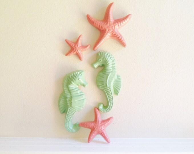 Seahorses and starfish decor,coral and mint beachy decor, nautical, coastal bathroom decor