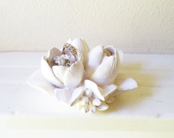 Lily ring dish, 3d flower sculpture, wedding ring dish, bridal party gifts