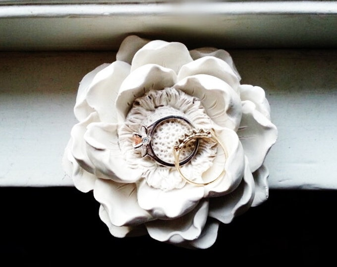 Magnolia flower wedding ring dish, bridal party gifts, floral decor, bridesmaids gifts, engagement gift