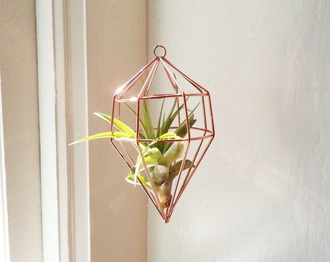 Featured listing image: Geometric hanging air plant holder, hanging air planter holder with plant, copper geometric plant holder, silver