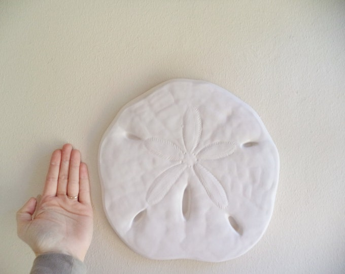 Sand dollar wall hanging sculpture, sea shell beach decor, nautical art, large sand dollar