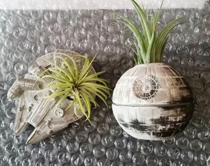 Death Star, air plant holder, Millennium Falcon gift, Star Wars geekery, nerdy gift