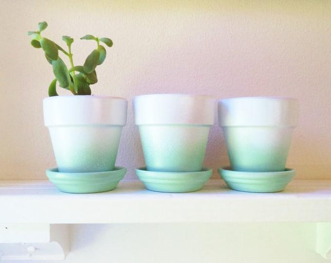 Flower pots, Mint ombre planters, set of planters, succulent planters, modern floral decor