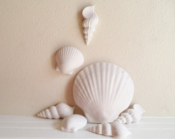 Seashell wall decor, wall hanging shells, beach decor, coastal, nautical shell sculptures