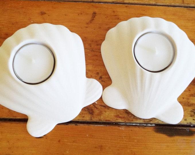 Seashell candle holders, tea light candle holders, beach house accent, simple white nautical, beach wedding gift, bathroom decor
