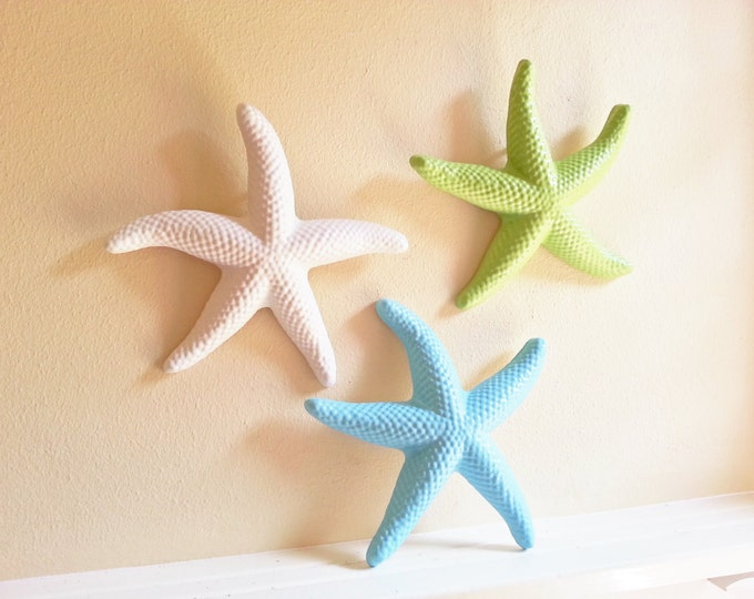 Starfish wall decor, beach decor, seashells, large starfish, coastal decor items