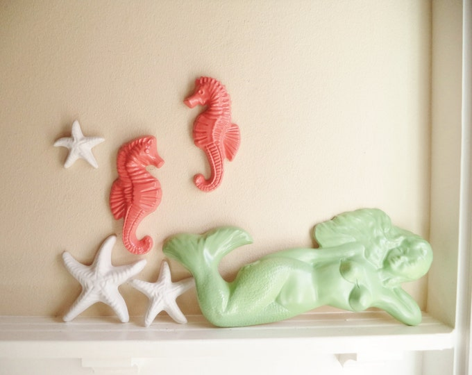 Featured listing image: Nautical wall hanging sculpture collection, mermaid statue, seahorse, decor, starfish wall hanging sculptures