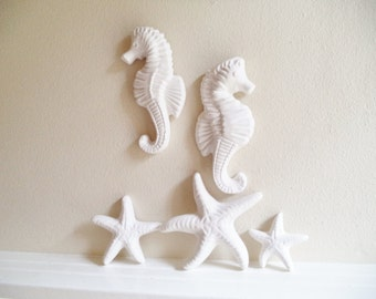 Seahorse and starfish wall hanging sculptures, nautical decor