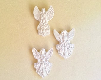 Angel wall sculptures, angel wall decor, Victorian inspired angels, angel wings