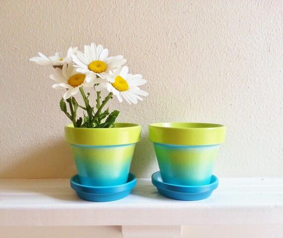 Aqua blue and lime green, ombre planters, cactus planters, succulent pots, terracotta flower pots