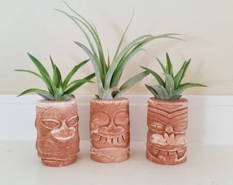 Tiki totem air plant holders, Hawaiian wedding favors, Island style, Tahitian, Hawaiian decor, Polynesian