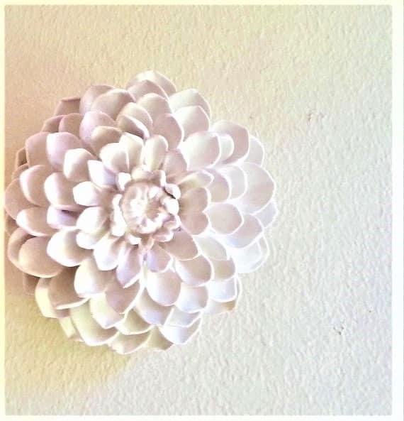 Dahlia wall flower, flower sculptures, boheme decor, white wall hanging flowers, dorm wall decor