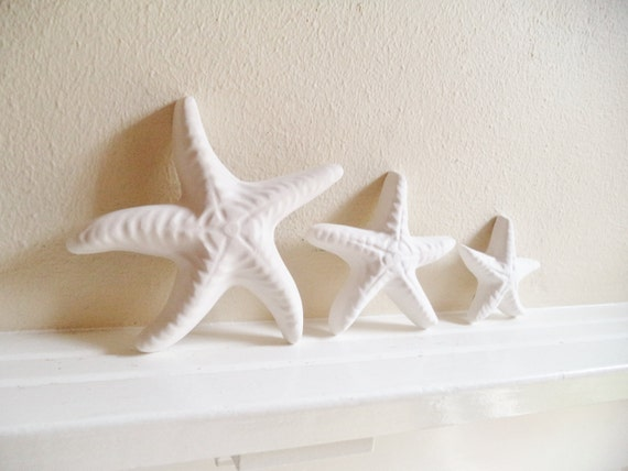 Starfish wall decor, family of starfish, nautical decor, starfish sculptures