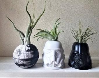 Star Wars inspired planter, gift set, Storm trooper, Darth Vader air plant holders, death star desk planter, geek chic, nerdy gift