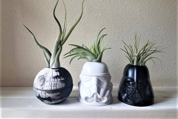 Star Wars inspired planter gift set, Storm trooper, Darth Vader air plant holders, death star planter, geek chic, nerdy gift, desk plant
