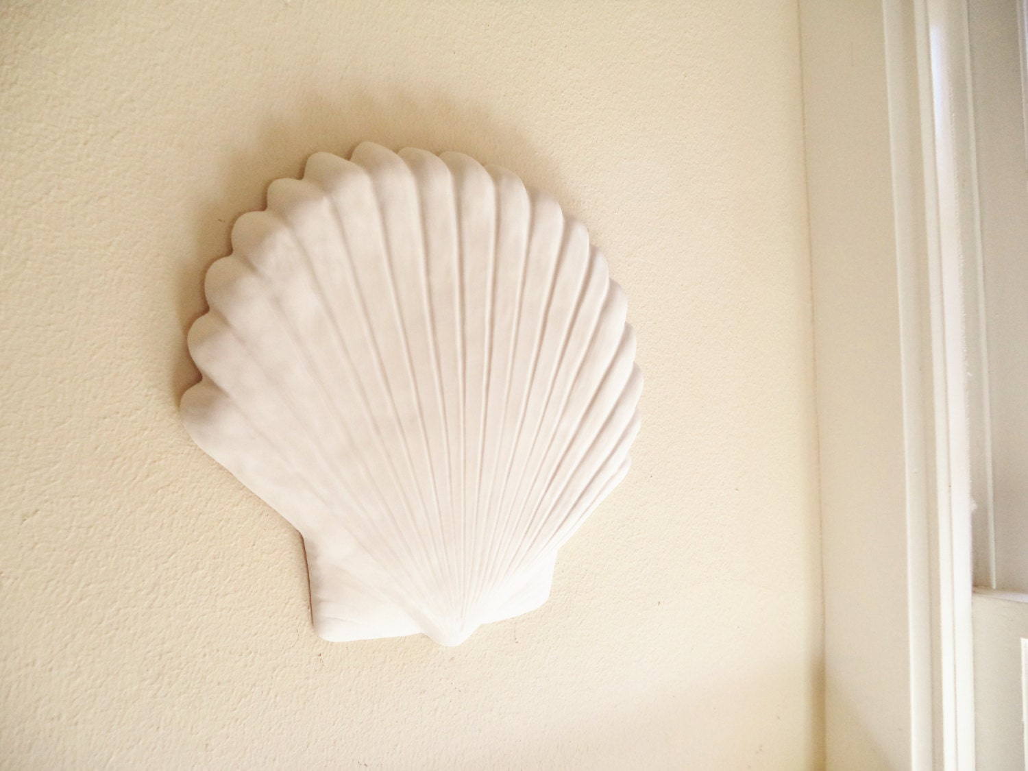 Large Sea Shell Wall Hanging Sculpture Set Decor White