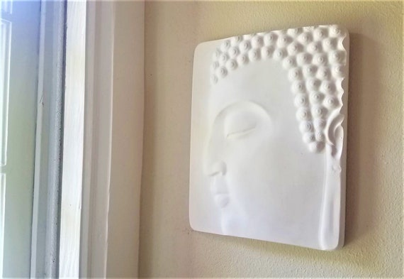 Buddha wall hanging, Buddha plaque, Zen, peaceful Buddha face, matte white home accent, Buddha decor