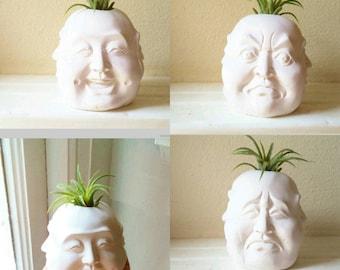 Buddha planter, Four faces of Buddha, air plant holder, Buddha gift