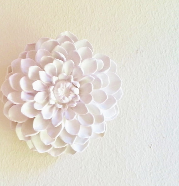 Dahlia wall sculpture, boheme, stone flowers, modern minimalist floral wall decor, white wall flowers