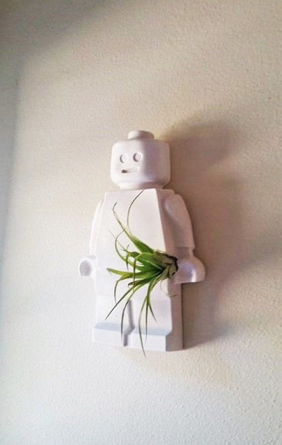 Lego mini fig inspired air plant holder, wall hanging air plant holder, large mini figure planter