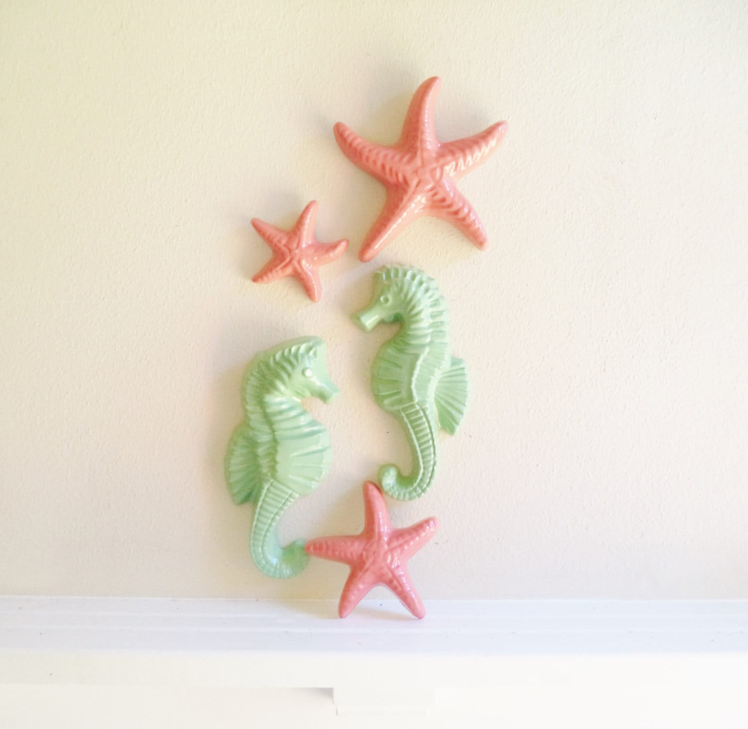 Seahorses And Starfish Wall Decor Coral And Mint Beachy
