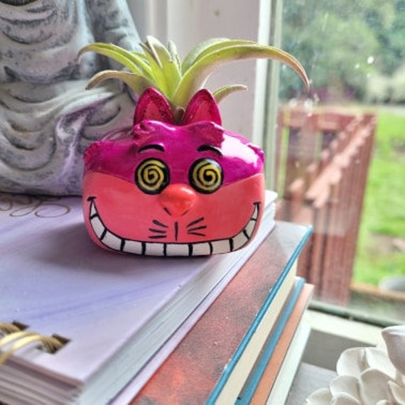 Cheshire cat air plant holder, wonderland, cat gift, were all made here, pink cat, crazy cat lady gift